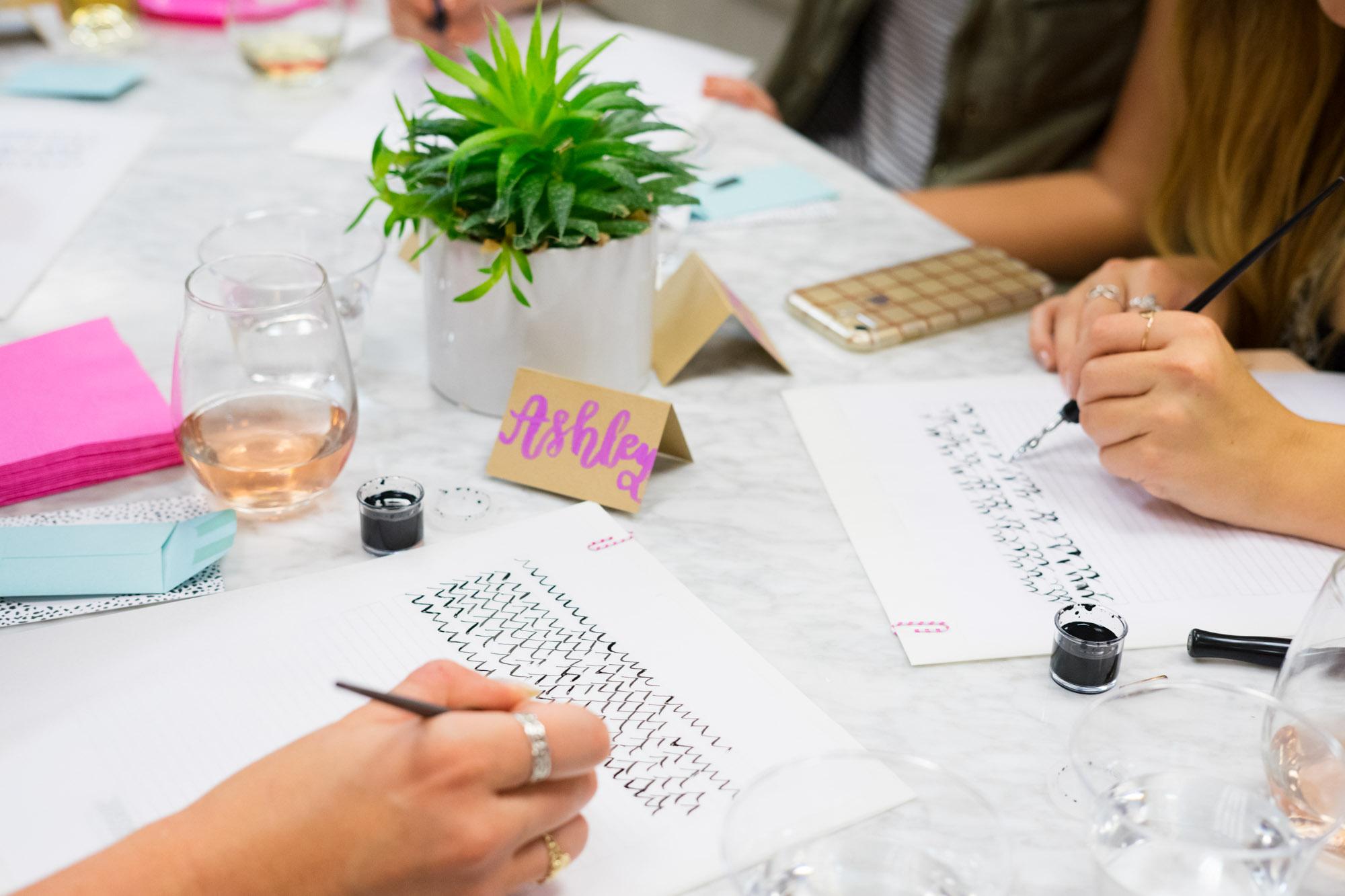 sip & Script calligraphy class bella bridesmaids