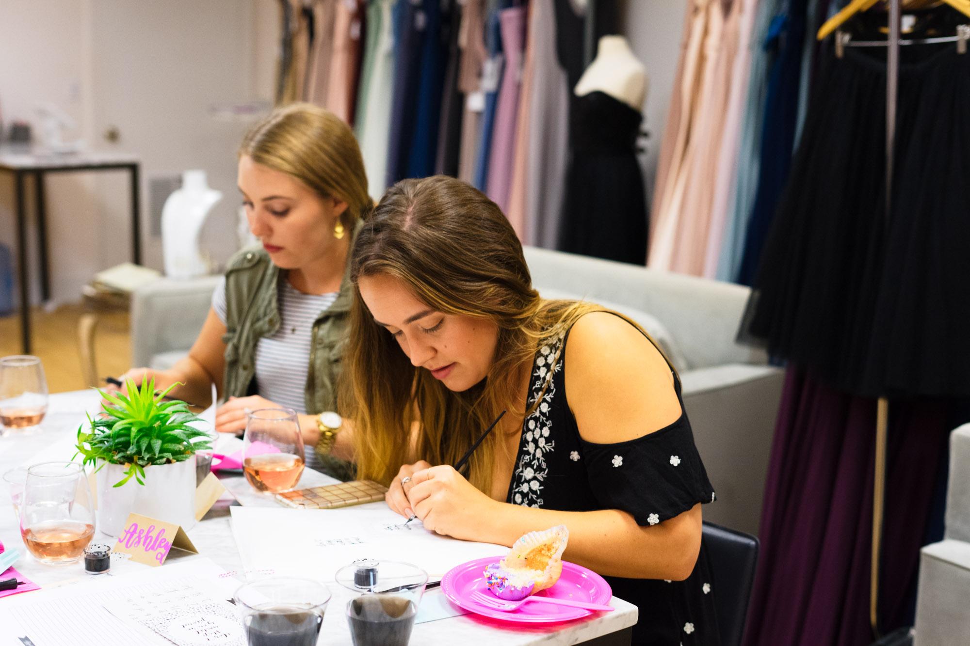 calligraphy sip & script at bella bridesmaids