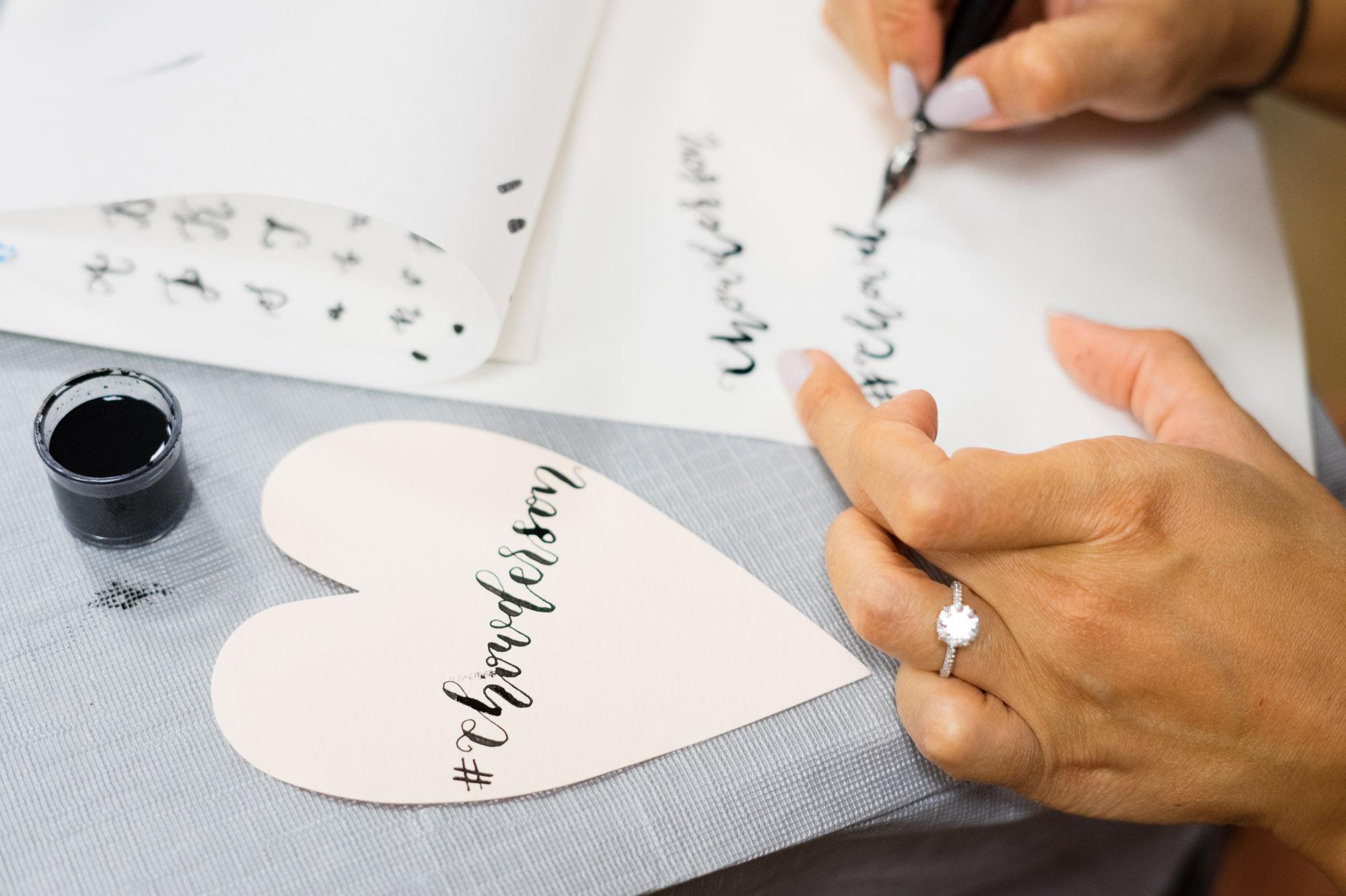 wedding hashtag calligraphy sip & script at bella bridesmaids