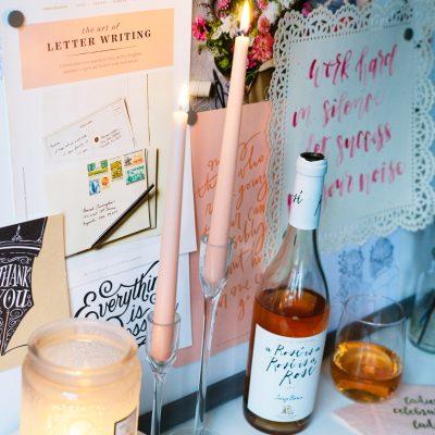 rose wine blush pink office decor