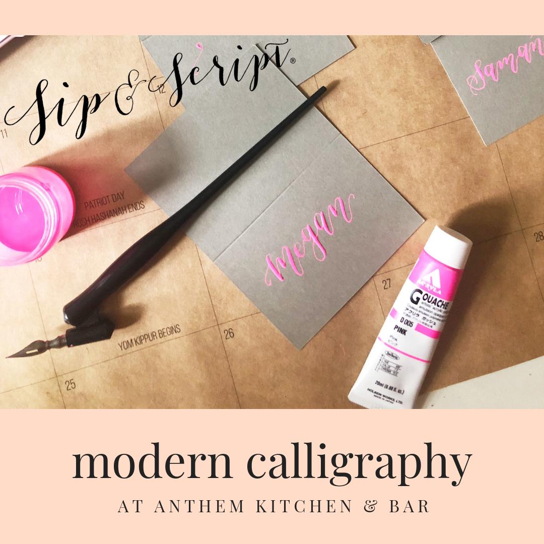 Anthem Kitchen And Bar: Modern Calligraphy Night At Anthem Kitchen & Bar